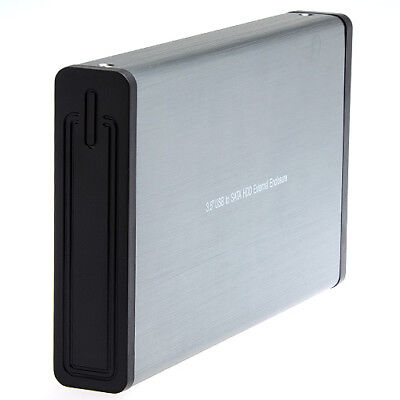 "USB 2.0 HDD Enclosure Case for 3.5"" SATA Hard Disk Drive in Aluminium"