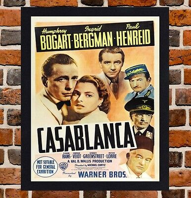 Framed Casablanca Movie Poster A4 / A3 Size In Black / White Frame (Version-5)