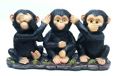 See Hear Speak No Evil Monkey Chimps Figurine Statue Animal Kingdom Home Decor