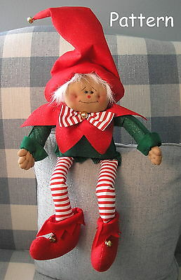 Primitive Raggedy Christmas Elf Doll Holiday Sewing Craft Paper Pattern #41