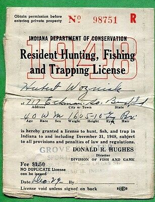 indiana 1954 resident hunting, fishing & trapping license rw21 duck