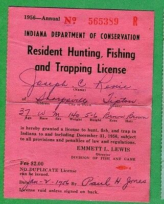 INDIANA 1969 Resident Hunting, Fishing & Trapping License RW36 Duck Stamp - 354