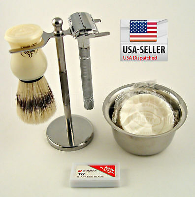 Shaving Set Vintage Stand For Safety Razor Omega Brush Dorco Soap Mug Pro shave