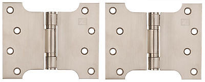 "Satin Stainless Steel Parliament Door Hinges Button Tipped 4 x 3 x 5"" + Screws"