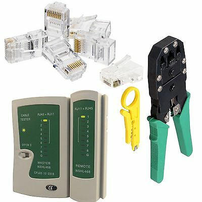 RJ45 Cat 5e Cable Tester Crimping Crimper Stripper Network Kit + 100x Connectors