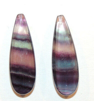 Fluorite Gemstones with drilled hole in top 30x10mm with 6.5 wide set of 2(9990)