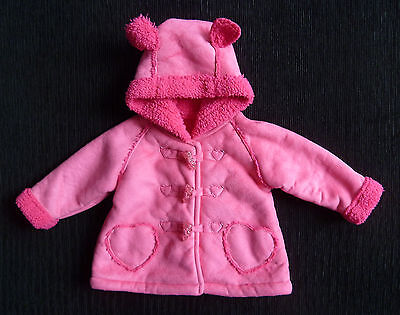 Baby clothes GIRL 3-6m George pink faux-suede coat fleece lining hood SEE SHOP!