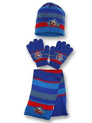 Boys Official Avengers Stripe Hat Gloves and Scarf Set 3 PCs Set Age 4-8Yr