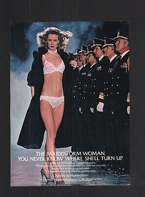 1982 Magazine Print Ad~Maidenform Lingerie~Chantilly~Military~Bra & Panties~A210