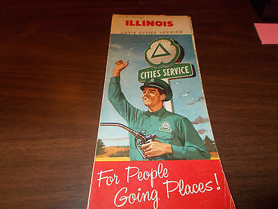 1958 Cities Service Illinois Vintage Road Map