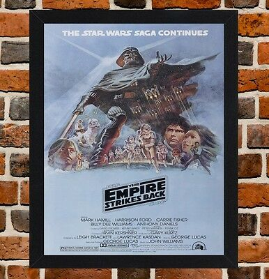 Framed The Empire Strikes Back Movie Poster A4 / A3 Size In Black / White Frame.