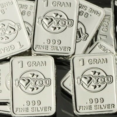 Lot 30 X 1 Gram  .999 Fine Silver Bar / I love you - Valentines gift  WPT459 oz