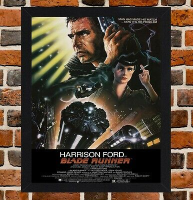 Framed Blade Runner Movie Poster A4 / A3 Size Mounted In Black / White Frame