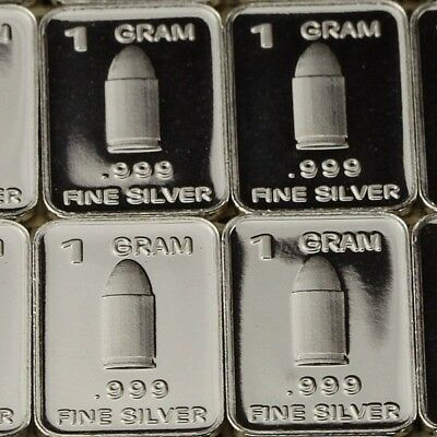 Lot 30 X 1 Gram  .999  Fine Pure Silver Bar Bullion  / Bullet       L5WPT425 oz