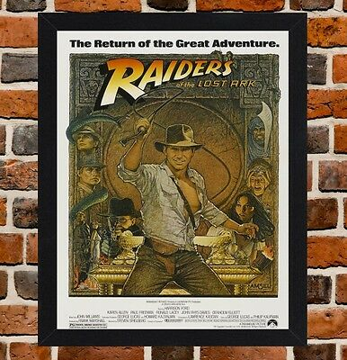 Framed Raiders Of The Lost Ark Movie Poster A4 / A3 Size In Black / White Frame