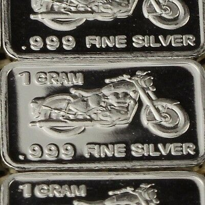 Lot 30 X 1 Gram  .999  Fine Pure Silver Bar Bullion  /  Motorcycle  WPT427 oz