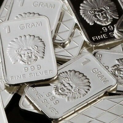 Lot 30 X 1 Gram .999 Fine Silver Bar Bullion  / Indian Chief   WPT375 oz