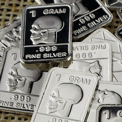 Lot Lot of 30 X 1 Gram  .999  Fine Silver Bar Bullion  / Skull  WPT328 oz