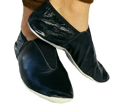 Leather Gymnastic training dance shoes Black indoor wear all sizes
