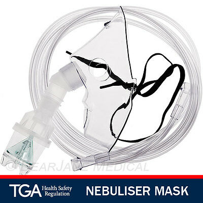 4 x ADULT NEBULISER MASKS TUBING 2M Nebulizer Mask Medical JET