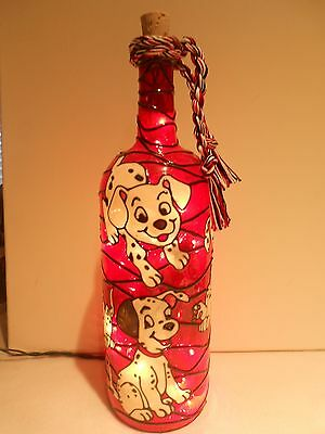 Dalmatians Inspiered Hand Painted Lighted Wine Bottle Stained Glass look