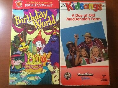 Ronald McDonald Birthday World & Kidsongs A Day At Old MacDonald's Farm VHS RARE