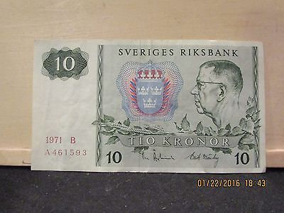 SVERIGES RIKSBANK - Tio Kronor 10 Note Dated 1971