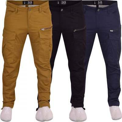 Crosshatch Mens High Quality Twisted Leg Tapered Chinos Trousers Jeans