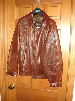 Reed men's leather bomber jacket size M Medium LS USED WORN brown EUC