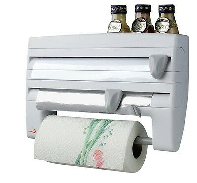 Kitchen Triple Roll Holder Paper Towel Dispenser Cling Film Tin Foil Rack Wall