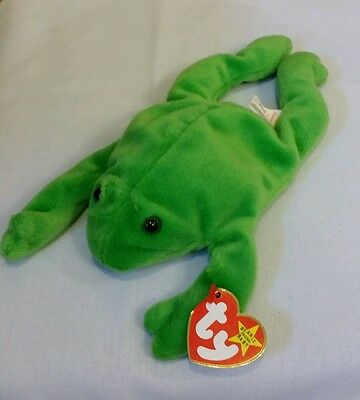 NWT Legs the Frog 1993 Original Ty Beanie Baby PVC Pellets Style 4020