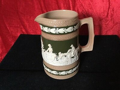 Late 19th Century Copeland Hunting Scene Water Jug In Green,Brown And White
