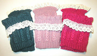 Women's Crochet Knitted Lace Trim Boot Cuffs Toppers Leg Warmers