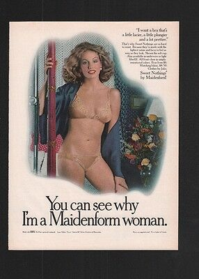 1980s Magazine 8.5x11 Print Ad~Maidenform Lingerie~Sweet Nothings~Pole~A230