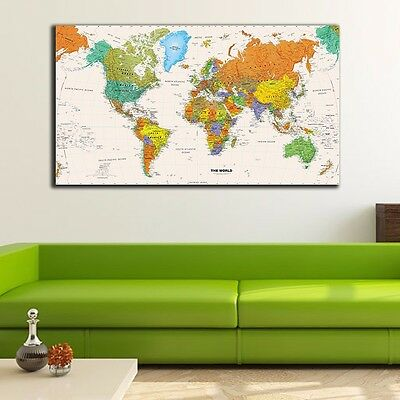 World Map Stretched Canvas Prints Framed Wall Art Home Office Decor Painting DIY