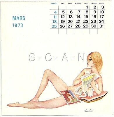 Org Vintage French Semi Nude Pinup Calendar PC- René Caille- Newspaper- Mar 73