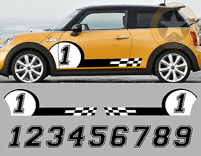 2 X Bandes Racing + Numero Au Choix Mini Cooper Autocollant Sticker Auto (Bd504)