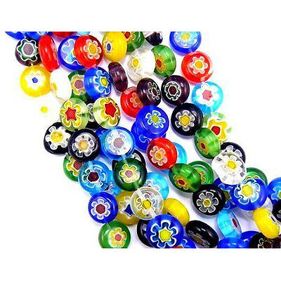 40-Piece Colorful Mix Millefiori Flower Glass Coin Beads,10mm CY