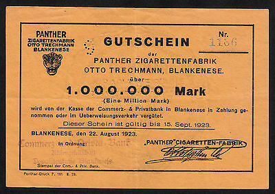 Hamburg Blankenese -Panther Zigaretten- 1 Million Mark vom 22.08.1923