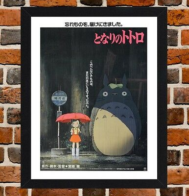 Framed My Neighbor Totoro Movie Poster A4 / A3 Size In Black / White Frame.