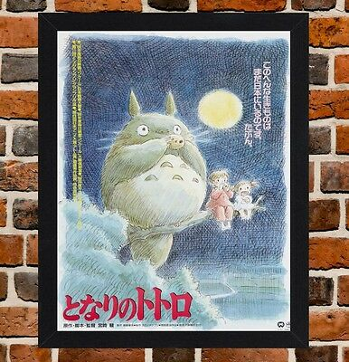 Framed My Neighbor Totoro Movie Poster A4 / A3 Size In Black / White Frame.-