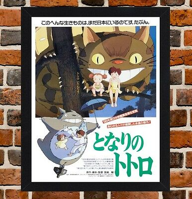 Framed My Neighbor Totoro Movie Poster A4 / A3 Size In Black - White Frame.