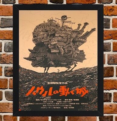 Framed Howls Moving Castle Movie Poster A4 / A3 Size In Black / White Frame