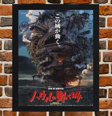 Framed Howls Moving Castle Movie Poster A4 / A3 Size In Black / White Frame.