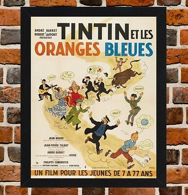 Framed Tintin And The Blue Oranges French Movie Poster A4/A3 Size In Black Frame
