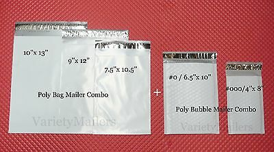 15 Poly Bag + 8 Poly Bubble Shipping Envelopes ~ 5 Sizes ~ Self-Sealing Mailers