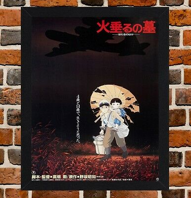Framed Grave of the Fireflies Movie Poster A4 / A3 Size In Black / White Frame.