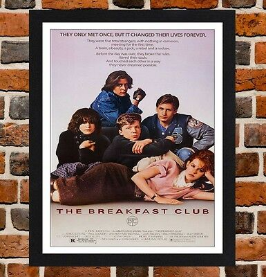 Framed The Breakfast Club Movie Poster A4 / A3 Size In Black / White Frame