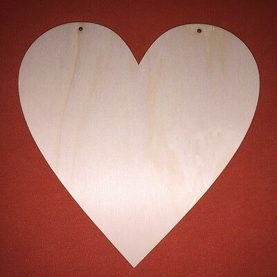 2 x large HEARTS 20cm WOODEN SHAPE WEDDING VALENTINE GIFT HANGING PLAQUE CRAFT
