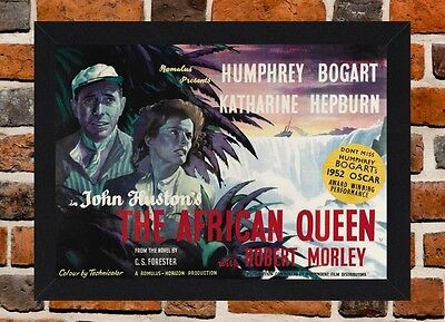 Framed The African Queen Movie Poster A4 / A3 Size In Black / White Frame -